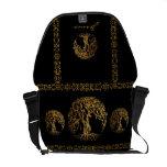 Mehndi Tree of Life (Gold) Messenger Bags