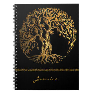 Mehndi Tree of Life (Gold) Spiral Note Book