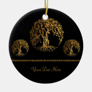Mehndi Tree of Life (Gold) Double-Sided Ceramic Round Christmas Ornament