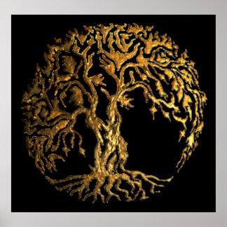 Mehndi Tree of Life (Gold) Poster