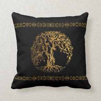 Mehndi Tree of Life (Gold) Throw Pillow