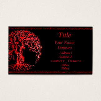 Mehndi Tree of Life (Henna) (Red) Business Card