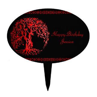 Mehndi Tree of Life (Henna) (Red) Cake Topper