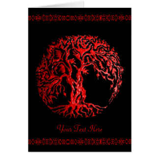 Mehndi Tree of Life (Henna) (Red) Card