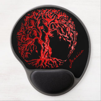 Mehndi Tree of Life Henna Red Gel Mouse Pads