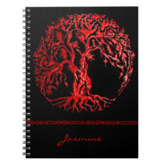 Mehndi Tree of Life (Henna) (Red) Notebook