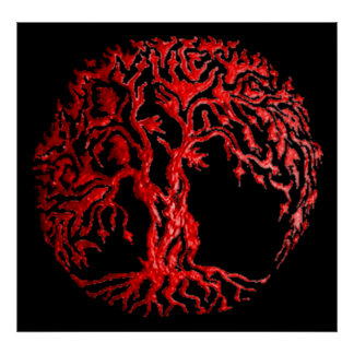 Mehndi Tree of Life (Henna) (Red) Posters