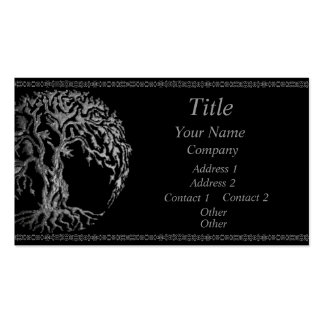 Mehndi Tree of Life (Henna) (Silver) Double-Sided Standard Business Cards (Pack Of 100)