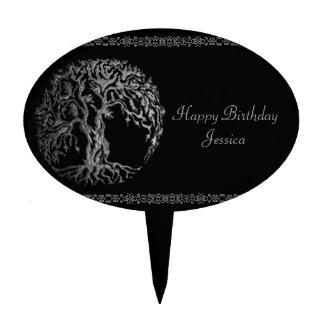 Mehndi Tree of Life (Henna) (Silver) Cake Topper