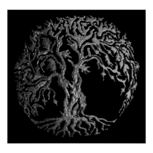 Mehndi Tree of Life (Henna) (Silver) Posters