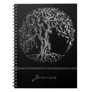 Mehndi Tree of Life (Henna) (Silver) Spiral Notebook