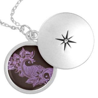 mehndi violeta de la alheña floral medallón