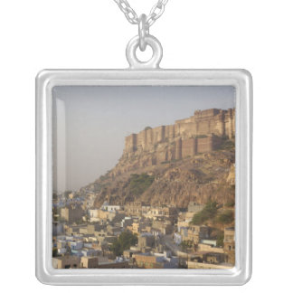 Mehrangarh Fort of Jodhpur. Rajasthan, INDIA. Square Pendant Necklace