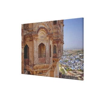 Mehrangarh Fort towering above Jodhpur, The Blue Canvas Print