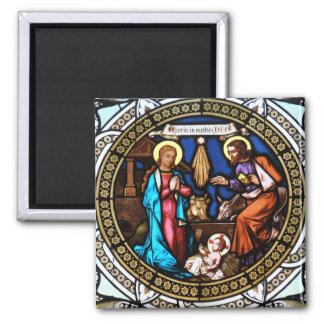 Mehrerau Collegiumskapelle Chapel Window Nativity 2 Inch Square Magnet
