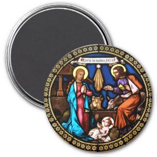 Mehrerau Collegiumskapelle Chapel Window Nativity 3 Inch Round Magnet