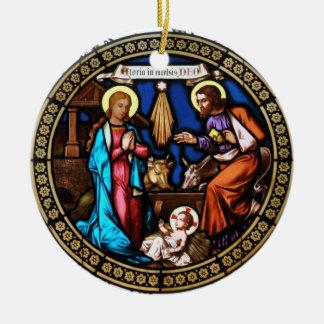 Mehrerau Collegiumskapelle Chapel Window Nativity Double-Sided Ceramic Round Christmas Ornament