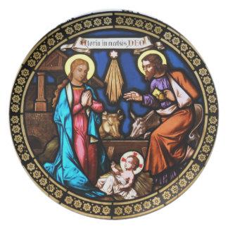 Mehrerau Collegiumskapelle Chapel Window Nativity Plates