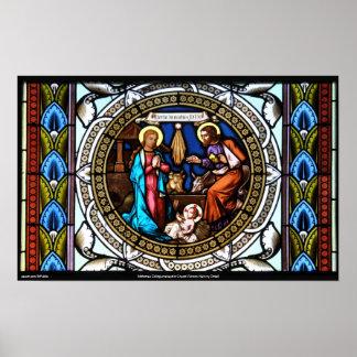 Mehrerau Collegiumskapelle Chapel Window Nativity Poster
