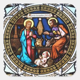 Mehrerau Collegiumskapelle Chapel Window Nativity Square Sticker