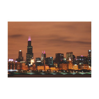Meigs Field View of the Chicago Night Skyline Canvas Print