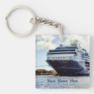 Mein Blue Bow Personalized Double-Sided Square Acrylic Keychain