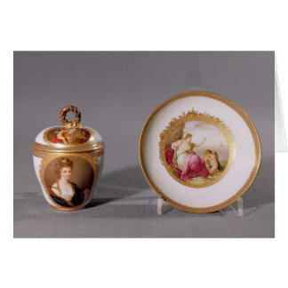 Meissen cup, cover and saucer card