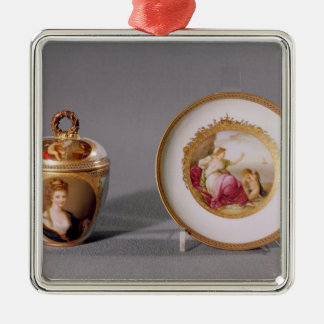 Meissen cup, cover and saucer ornaments