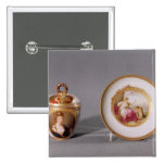 Meissen cup, cover and saucer pinback button