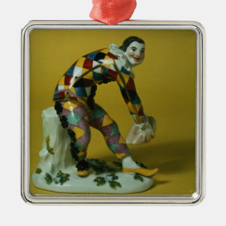 Meissen figure of Harlequin, c.1750 Square Metal Christmas Ornament