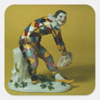 Meissen figure of Harlequin, c.1750 Square Sticker