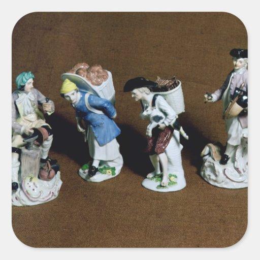 Meissen figures:saddler,goat seller square sticker