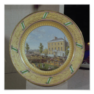 Meissen plate, decorated with a scene of poster