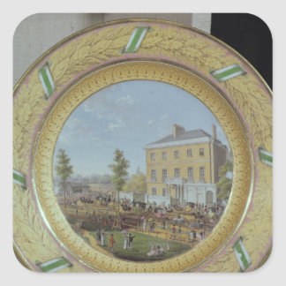 Meissen plate, decorated with a scene of square sticker
