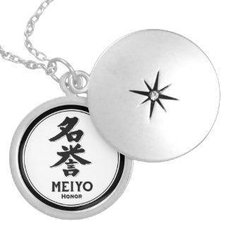 MEIYO honor bushido virtue samurai kanji Round Locket Necklace