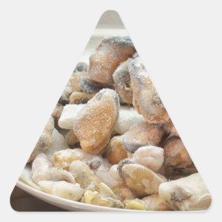 Mejillones congelados calcomanías de triangulos personalizadas