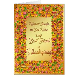 Mejor amigo, acción de gracias, hojas de la caída tarjetas