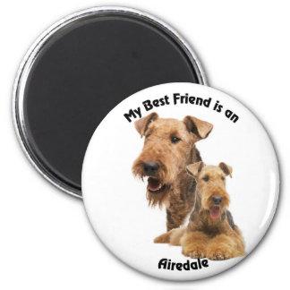 Mejor amigo Airedale Imán Redondo 5 Cm
