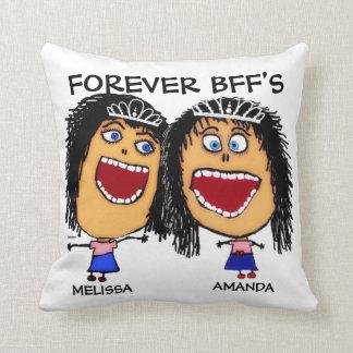 Mejor amigo BFF del dibujo animado Cojín