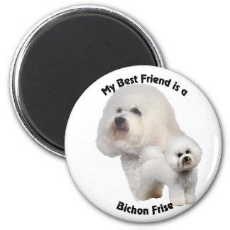 Mejor amigo Bichon Frise Imán Redondo 5 Cm