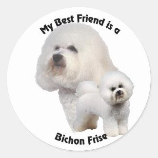 Mejor amigo Bichon Frise Pegatina Redonda