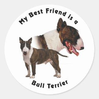Mejor amigo bull terrier pegatina redonda