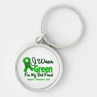 Mejor amigo - cinta verde de la conciencia llavero redondo plateado