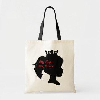 Mejor amigo de la princesa hermana grande bolsa tela barata