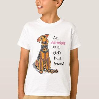 Mejor amigo de los chicas de Airedale Terrier Playera
