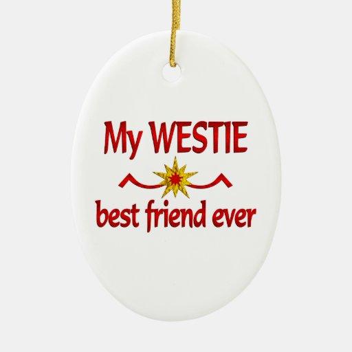 Mejor amigo de Westie Adorno Ovalado De Cerámica