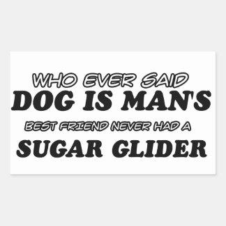 Mejor amigo del planeador del azúcar pegatina rectangular