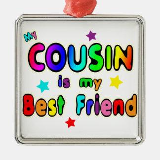 Mejor amigo del primo adorno cuadrado plateado