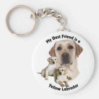 Mejor amigo Labrador amarillo Llavero Redondo Tipo Pin
