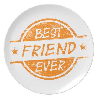 Mejor amigo siempre anaranjado plato para fiesta